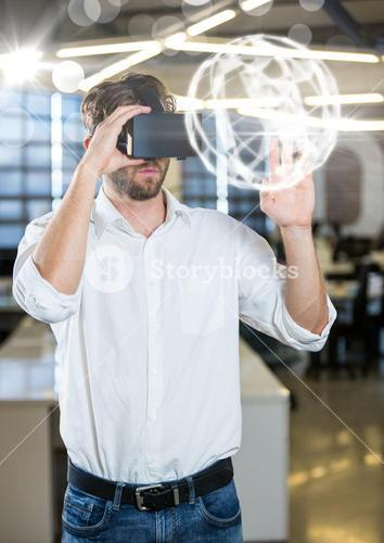 Man wearing VR Virtual Reality Headset with Interface Orb