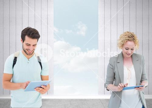 People with tablets and opening to sky