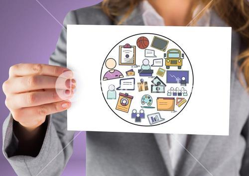 Woman holding card with creative business graphic drawings