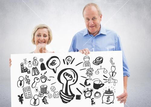 Elderly couple holding card with ideas money and business graphic drawings