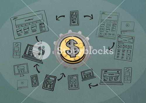 3D cog about money with graphic about blogging