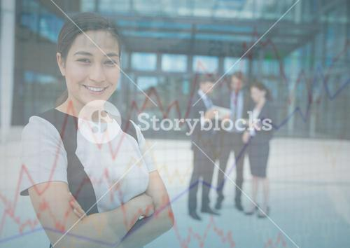 Business woman with arms folded and chart graphic overlay