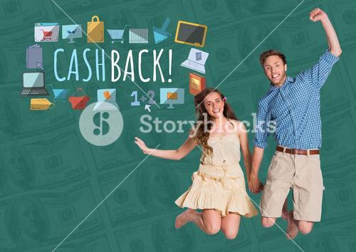 Couple jumping excitedly and Cashback text with drawings graphics