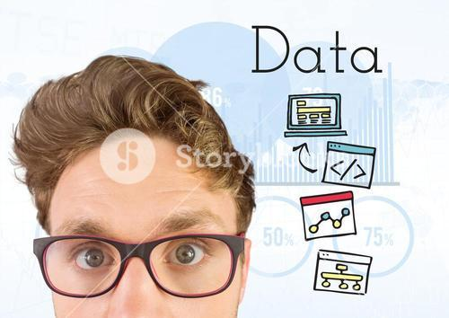 Man with glasses and Data text with drawings graphics