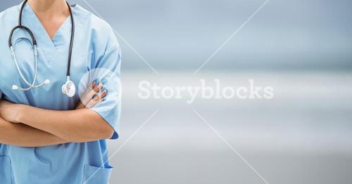 Nurse on blue blurred background