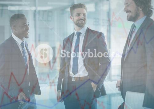 Three business men with chart graphic overlay