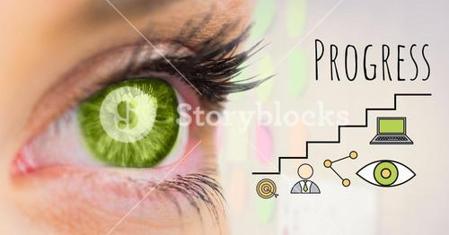 Green eye and Progress text with drawings graphics