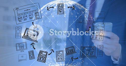 technological 3D earth background with men with mobile and graphic about blogs