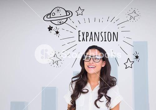 Happy woman with glasses and Expansion text with drawings graphics