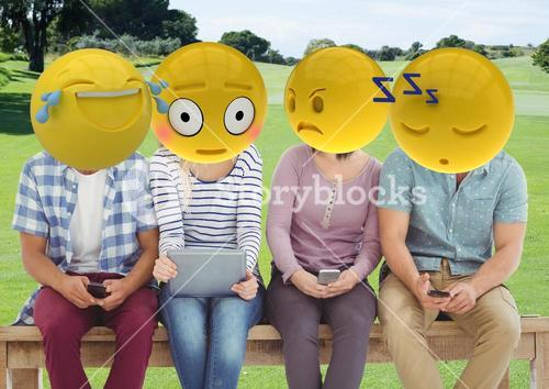 group of friends in the park. emoji face.