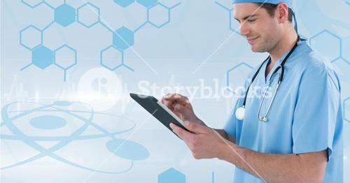 Nurse (men) catching notes with his tablet