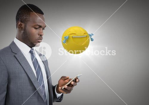 Business man on phone with emoji and flare against grey background