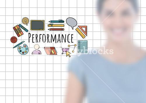 Blurred woman and Performance text with drawings graphics