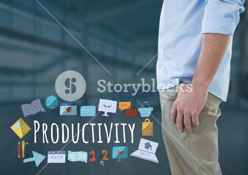 Man standing with Productivity text with drawings graphics