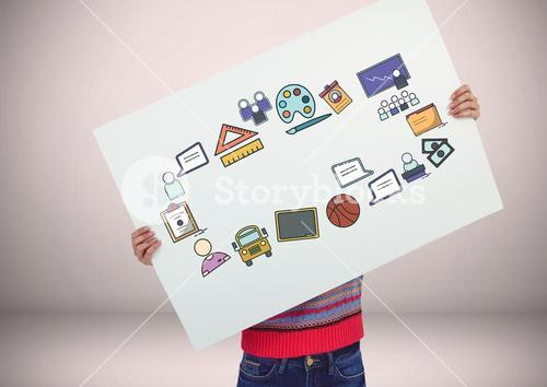 Person holding card with craetive education icons graphics drawings