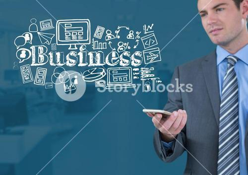 Businessman with phone and Business text with drawings graphics