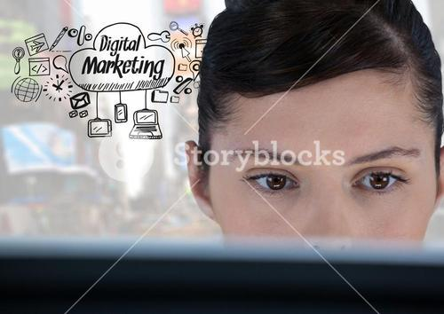 Woman on laptop with Digital Marketing text with drawings graphics
