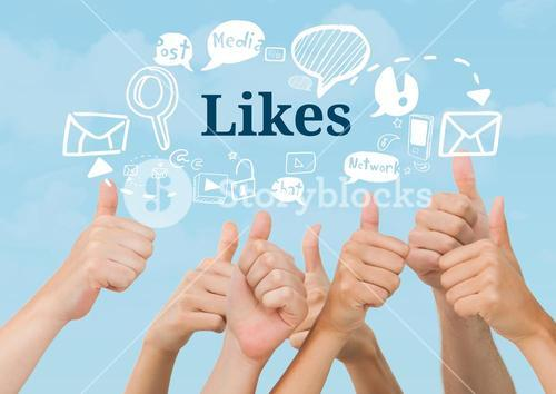 Many hands thumbs up with Likes text with drawings graphics