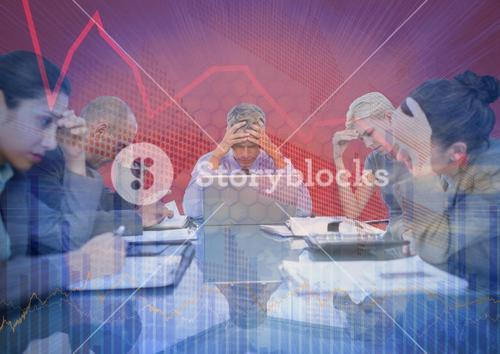 Stressfull business meeting with chart graphic overlay against red background