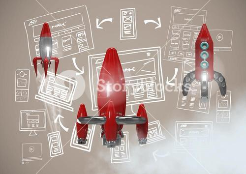 3D Rocket flying and image computer drawings graphics