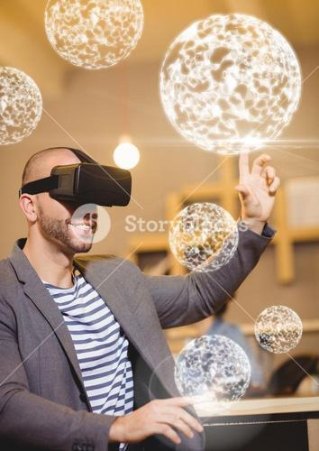Man wearing VR Virtual Reality Headset with Interface Orbs