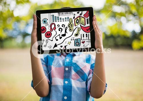 Kid holding tablet over face showing music doodles and white background