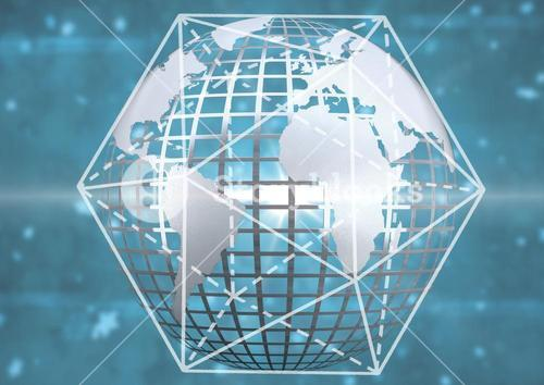 3D technological earth with dimension graphic