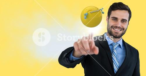 Business man touching emoji and flare against yellow background and cloud