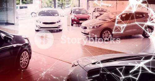 Cars on display with red overlay and white network