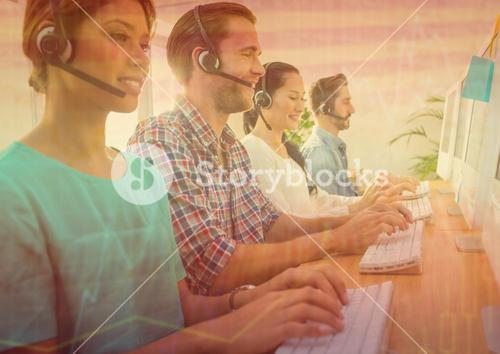 Customer service people with orange chart graphic overlay