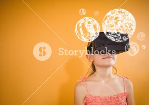 Girl wearing VR Virtual Reality Headset with Interface Orbs