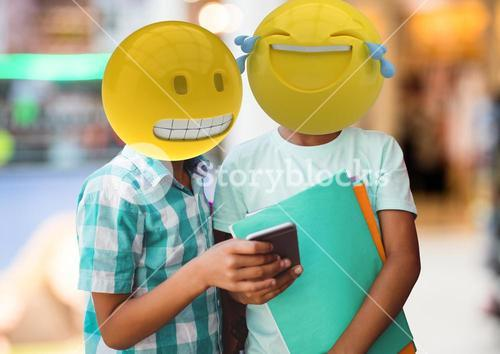Friends laughing with a message. Emoji face.