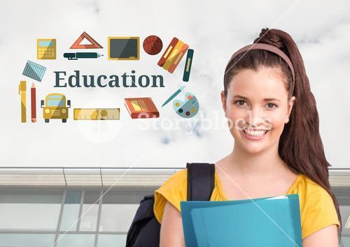 Happy student and Education text with drawings graphics