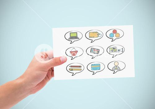Hand holding card and chat bubbles of business graphics drawings