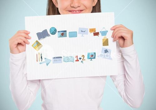 Girl holding card with education graphics drawings