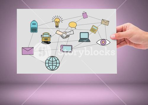 Hand holding card with technology and business graphics drawings