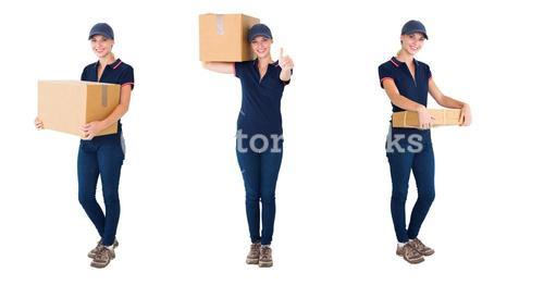 courier woman with box collage