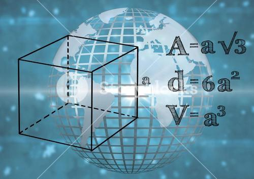 3D technological earth with blue background and mathematics graphic
