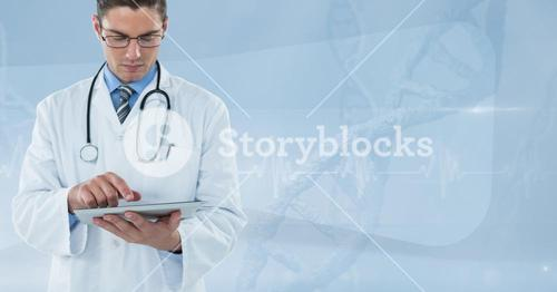 Doctor (men) using his tablet with pulsation background