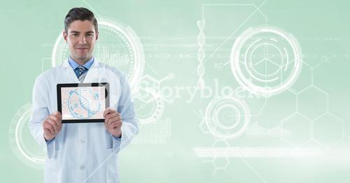 Doctor (men) with tablet with molecule graphic and technological background