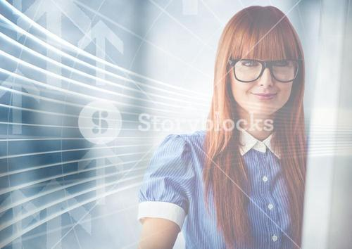 Woman at computer with arrow graphic overlay