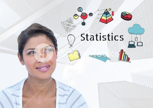 Curious sure smiling woman and Statistics text with drawings graphics