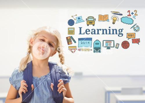 Young girl school with bag and Learning text with drawings graphics