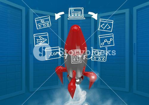 3D Rocket flying and computer screens drawings graphics