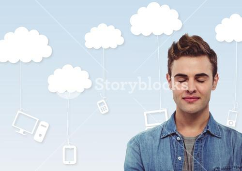 Man with eyes closed in front of clouds with devices