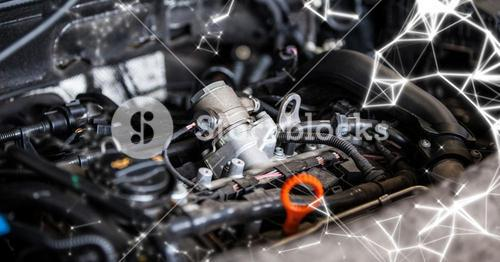 Car engine with white network
