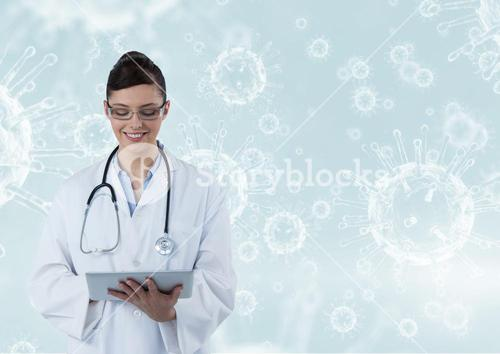 Happy doctor ( women) catching notes with molecule background