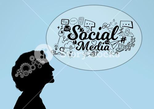 Shadow of woman with 3D cogs on the head and Social media graphic bubble