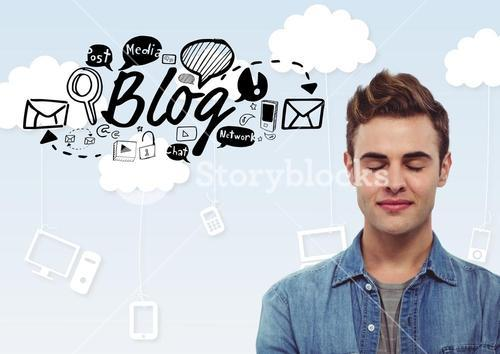 Man with eyes closed and Blog text with drawings graphics