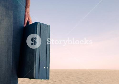 Businessman with briefcase with pink sky
